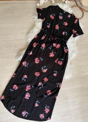 Натуральное платье миди в цветы