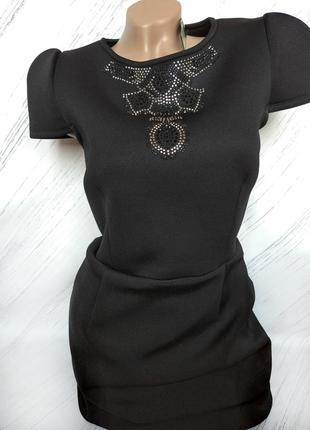 Роскошное черное платье от river island size uk 14