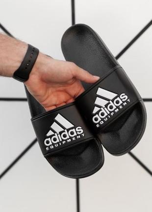 Летние черные тапочки adidas. тапки adidas. шлепки адидас на лето. adidas сланцы