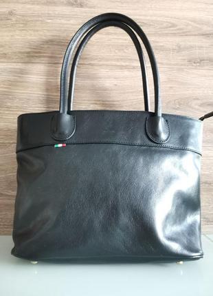 Женская черная кожаная сумка, брендовая vera pelle