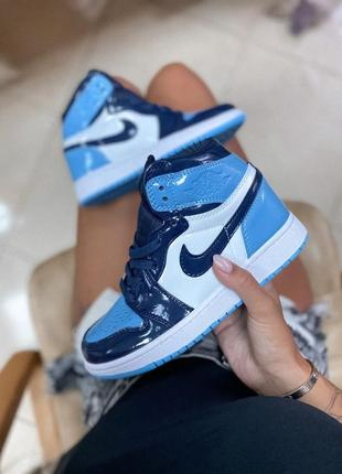 Ботинки nike jordan  1 retro high patent blue черевики