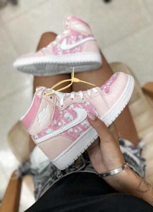Ботинки nike jordan x dior  1 retro high patent pink  черевики кроссовки