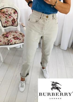 Burberry оригинал mom джинсы мом высокая талия посадка бежевого цвета