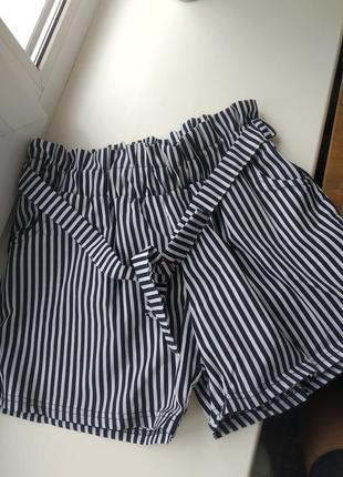 Хлопковые шорты с поясом шорты в полоску