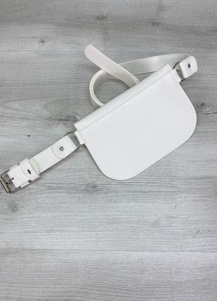 Женская поясная сумка бананка летняя белая4 фото