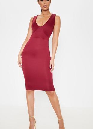 Универсальное бардовое платье с открытой спинкой💄