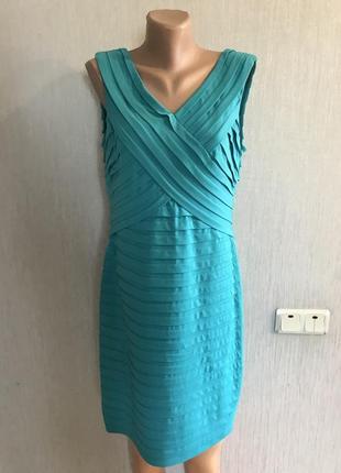 Шикарнейшее фирменное бирюзовое платье футляр пл фигуре m&co р. 14 английский