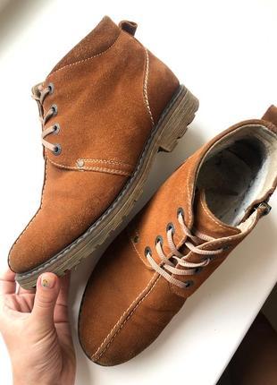 Женские ботинки рижие низкий ход на шнуровке