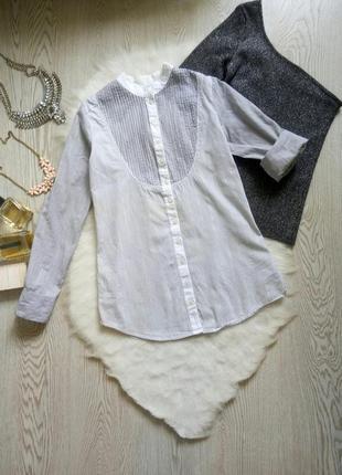 Белая серая рубашка хлопок в полоску без воротника жемчугом пайетки светлая натуральная