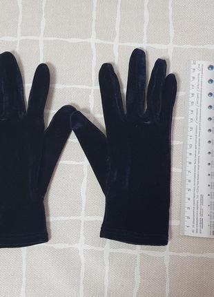 Перчатки бархат синие на подростка xs-s