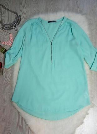 Голубая бирюзовая длинная блуза с молнией на вырезе декольте туника с рукавами шифон