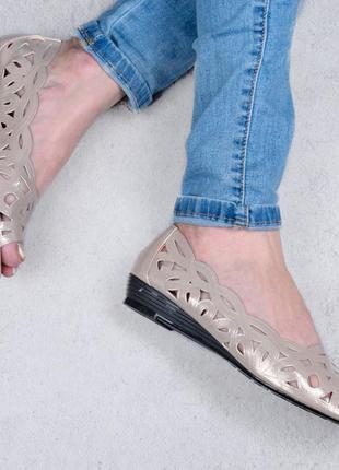 Балетки туфли лодочки с перфорацией туфлі з перфорацією эко еко