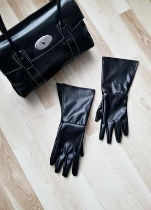 Кожаные высокие перчатки с разрезом xl 2xl 3xl 4xl