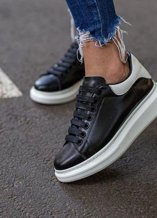 Alexander mcqueen luxury black \ white (кроссовки / кеды черно-белые)