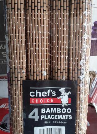 Коврики бамбуковые для сервировки стола. 4 шт.