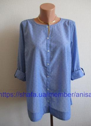 Хлопковая блуза шамбре в мелкий принт tcm tchibo