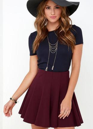 Шикарная юбка солнце asos воланом вишневого / бордового цвета марсала
