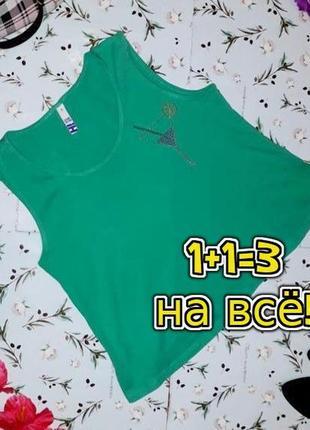 🌿1+1=3 стильный женский зеленый топ майка со стразами debenhams, размер 46 - 48