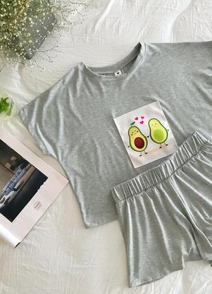 Натуральная лёгкая пижама с авокадо. домашний костюм топ футболка и шорты авокадо. с и м