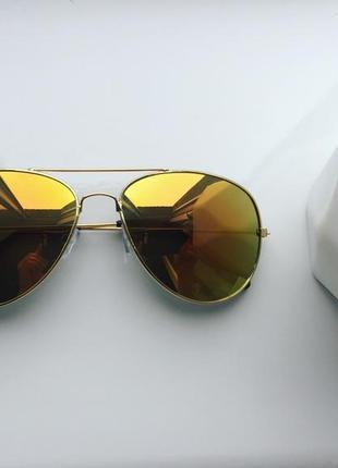 Очки капельки стильные модные желтые стекла зеркальные