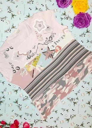 🌿1+1=3 крутая модная розовая футболка с принтом next, размер 52 - 54