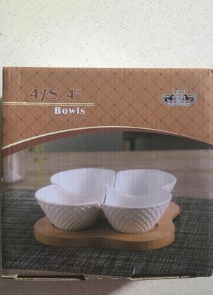 Новый набор креманки 4 шт на бамбуковой подставке в коробке