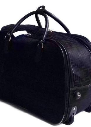 Качественная текстильная дорожная сумка на колесах, с выдвижной ручкой