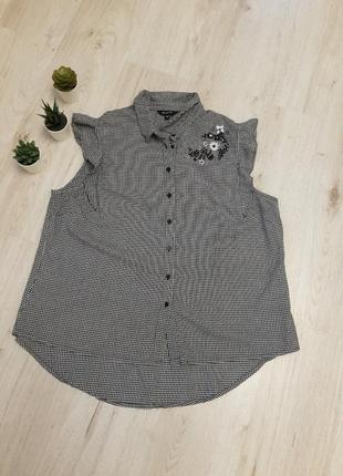 Рубашка большого размера, рубашка xxl, черно-белая рубашка, рубашка с вышивкой