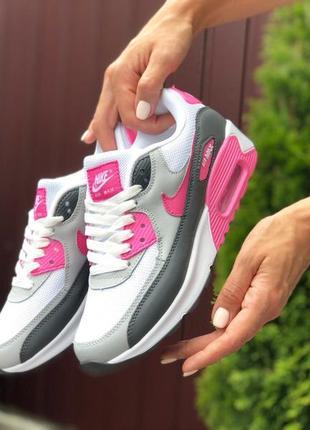 Жіночі кросівки nike air max 90 білі з сірим