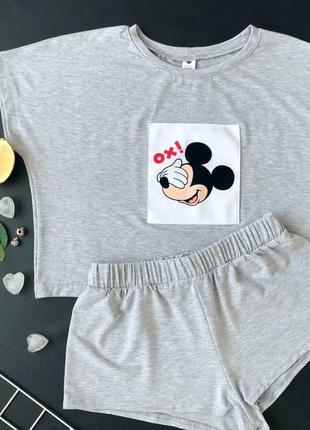 Натуральная лёгкая пижама с микки. домашний костюм топ футболка и шорты. с и м