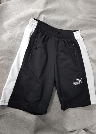 Шорты puma,  спортивные трикотажные шорты пума с белой полоской