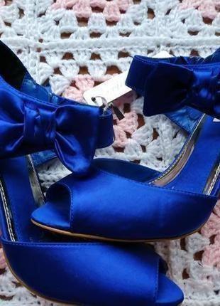 Мега розкошные женские босоножки # синие босоножки на ножку 24 см