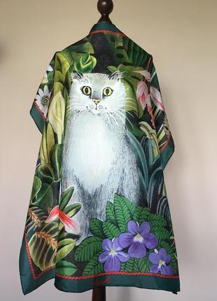 Шелковый платок beyeler, художник gisela buowberger, швейцария, оригинал,винтаж\ рауль