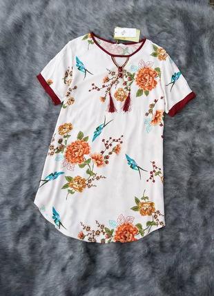 Новое платье туника из коттона/хлопка свободного кроя