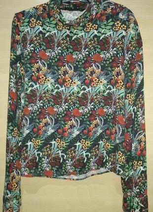 Zara basic блуза длинный рукав цветы гольфик блузка