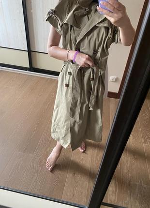 Платье,плащ zara s, бежевый, с карманами