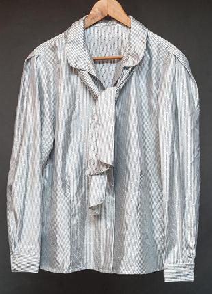 Ravens. блуза шелковая винтажная с шейным бантом