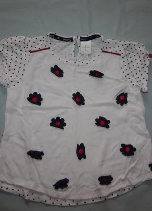 Блузка модная натуральная вискоза на 3-4 года 104 см