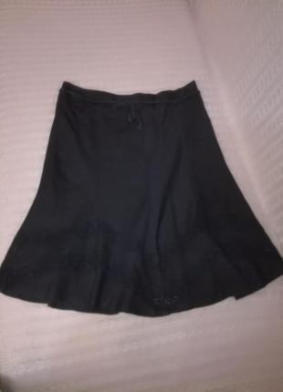 Красивая льняная черная юбка миди с кружевными ставками, р.18 (16/20)