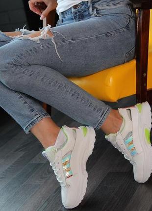 Кроссовки с зеленой отделкой, кроссовки, кеды, мокасины 36-402 фото