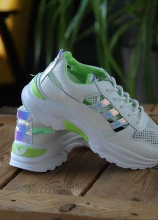 Кроссовки с зеленой отделкой, кроссовки, кеды, мокасины 36-404 фото