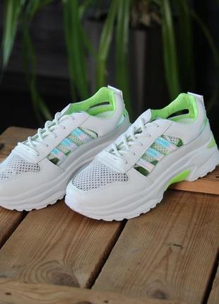 Кроссовки с зеленой отделкой, кроссовки, кеды, мокасины 36-405 фото