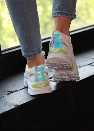Кроссовки с зеленой отделкой, кроссовки, кеды, мокасины 36-407 фото