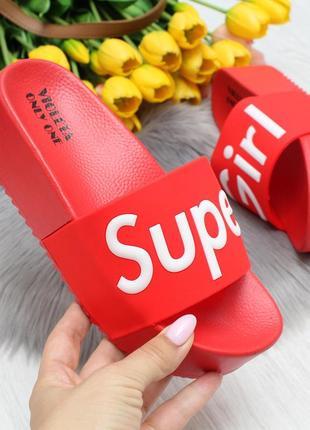 Эффектные красные женские шлепки шлепанцы на платформе super girl