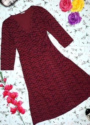 🌿1+1=3 фирменное бордовое трикотажное платье миди в принт marks&spencer, размер 46 - 48