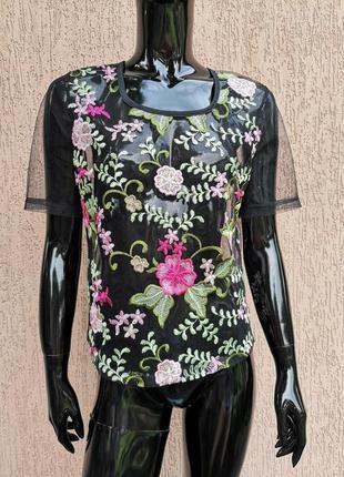 Блуза топ  сетка с вышивкой