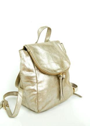 Городской рюкзак из натуральной серебристой кожи