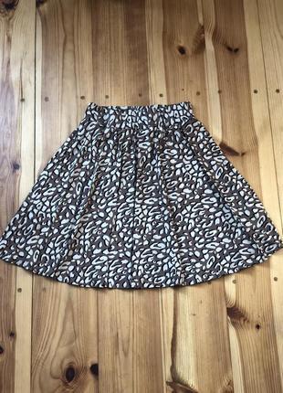 Леопардовая юбка в складку