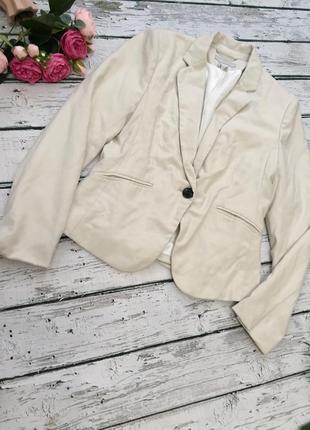 Бежевый пиджак жакет h&m на одну пуговицу6 фото