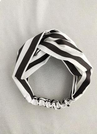 Повязка тюрбан біло чорна